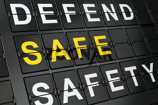 Privacy concept: Safe on airport board background