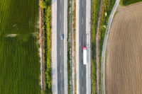 Rural highway with cars. Top view.