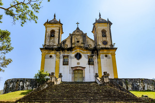 Ancient stairs and historic church of 18th century colonial architecture
