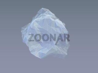 3D wireframe stone on gray background.