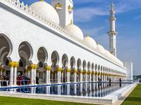 Reflection pool along the outer entrance of the Sheikh Zayed Mosque