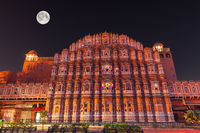 Hawa Mahal or the Palace of winds, night facade view, Jaipur, India