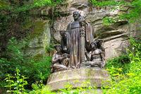 Richard Wagner Denkmal im Liebethaler Grund in der Sächsischen Schweiz - Richard Wagner Monument at Liebethaler Grund valley in Elbe Sandstone Mountains, Saxony