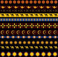 Ramadan kareem seamless pattern with borders, tribal style. Arabic ancient endless background. Vector illustration