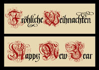 Gothic Christmas calligraphy. Uncial Fraktur.