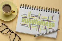 mindfulness word cloud in sketchbook