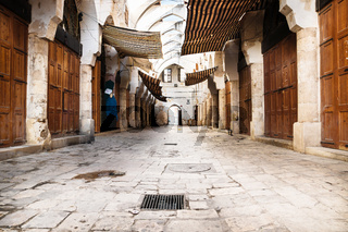Traditional Souks street with roof in Tripoli, Lebanon