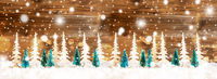 Christmas Tree Banner, Brown Wooden Background, Snowflakes