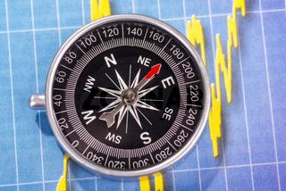 Kompass und Aktienkurs