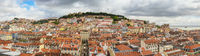 Lisbon Portugal aerial view panorama city skyline at Lisbon Baixa district