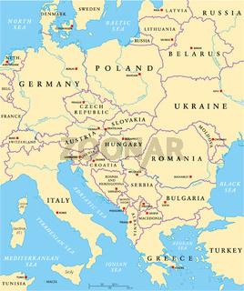 Zentraleuropa Politische Landkarte