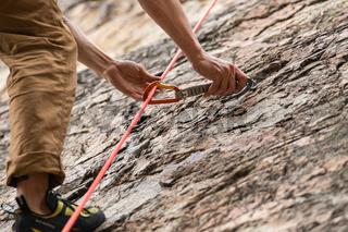 Traditional outdoor rock climbing
