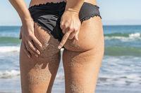 Beautiful Bikini Model Posing In A Beach Environment