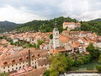 Panoramic aerial view of medieval old town of Skofja Loka, Slovenia