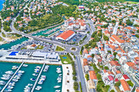 Town of Novi Vinodolski aerial panoramic view, Adriatic sea