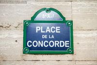 Place de la Concorde street sign, Paris, France