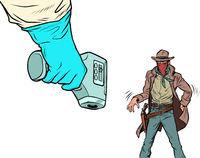 Duel with the coronavirus. Humorous concept. Temperature test