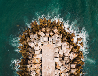 Concrete dike aerial view