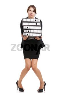 Beautiful woman carrying folders
