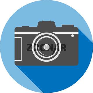 simple flat round dslr camera icon or symbol