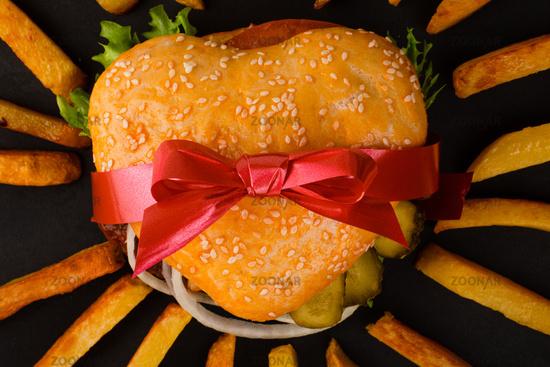 Heart shape hamburger gift