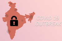India lockdown to prevent Coronavirus epidemic or outbreak - Concept showing of India locked to protect from coronavirus spreading.