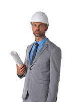 Architect in hardhat with blueprints