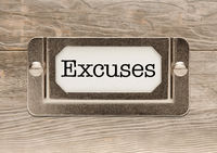 Excuses Metal File Cabinet Label Frame on Wood