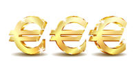 Gold sign euro currency. Vector illustration isolated on white