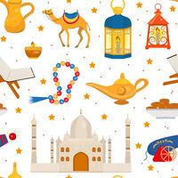 Ramadan kareem seamless pattern with arabic design elements camel, quran, lanterns, rosary, food, mosque. Vector illustration