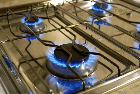 Flammen eines Gasherdes