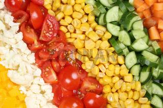 Gemüse Hintergrund mit Tomaten, Paprika und Mais