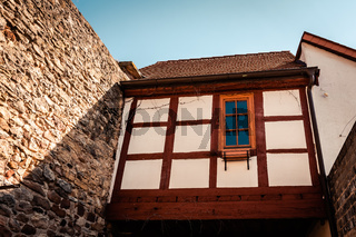 old timber framed house