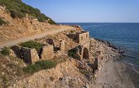 Aerial view on old ruins near Aliki beach on Crete