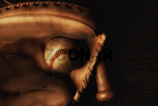 Catchers Mitt Bat and Baseball