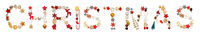 Colorful Christmas Decoration Letter Building Word Christmas