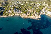 Aerial view over Costa de la Calma and Santa Ponca with hotels and beaches, Costa de la Calma, Caliva region, Mallorca, Balearic Islands, Spain
