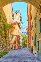 Colorful old street in Genoa