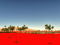 Beautiful natural background -African oasis 3d rendering