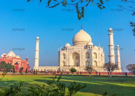Taj Mahal and the blue sky, beautiful view, India