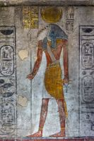 Ancient egypt color image of Horus god