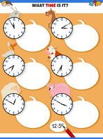 telling time educational game with cartoon farm animals