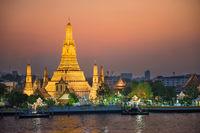 Illuminated Temple of Dawn or Wat Arun