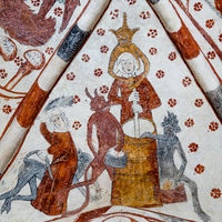 Churning Butter with Devils, gothic fresco