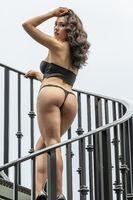 A Lovely Brunette Model Posing In Lingerie Outdoors