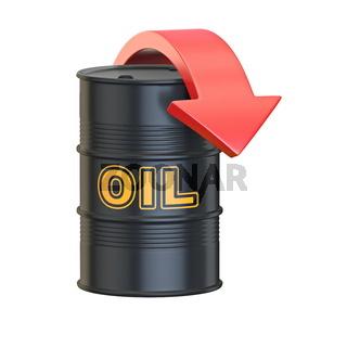 Black oil barrel with red arrow 3D