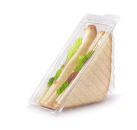 Sandwiches in clear plastic package