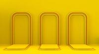 Three yellow orange mock up winner podium frame 3D