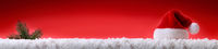 Red Santa Hat and fir tree branch on white snow.