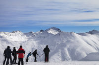 Group of skiers before start on off-piste descent